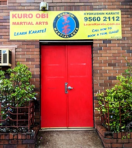 The entrance to Kuro Obi Martial Arts Dojo